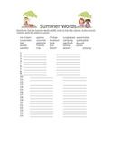 Summer Words- ABC order