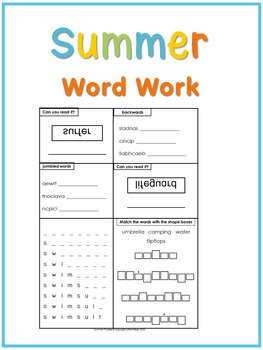 Summer Vocabulary Practice Fun