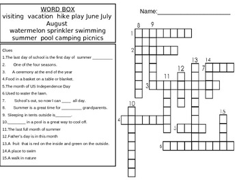 Summer Words Crossword