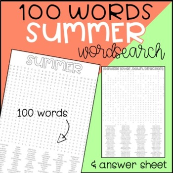 photo regarding 100 Word Word Search Printable known as Summer months Wordsearch