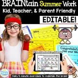 Summer Work: BRAINtain No Prep Print & Go No Supplies Needed!