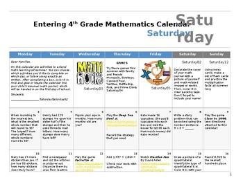 Math Summer Work Calendar Grades 3-4 (July 2017)