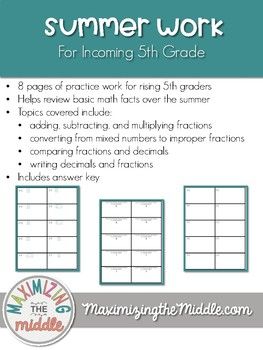 Summer Work For Incoming 5th Grade