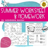 Summer Worksheets & HW Pack for Speech Therapy
