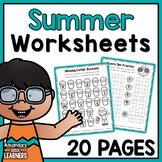 Summer Worksheets - No Prep Math and Literacy