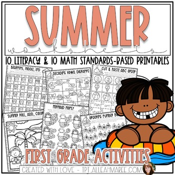 Summer Worksheets for First Grade: Literacy and Math Printables and Activities