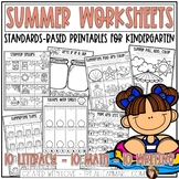 Summer Worksheets for Kindergarten: Literacy and Math Printables and Activities
