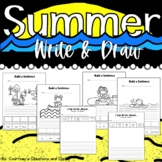Summer Write and Draw Cut and Paste First Grade or Kinderg