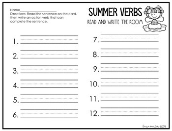 Summer Write the Room - Action Verbs