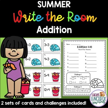 Summer Write the Room - Addition
