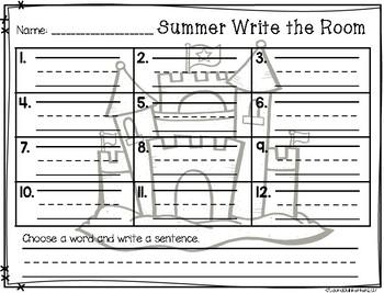 Summer Write the Room Vocabulary