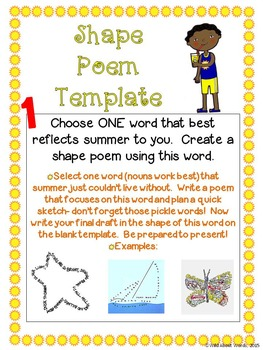 Summer Writing Pick a Project Choice Menus, Activities, and Templates