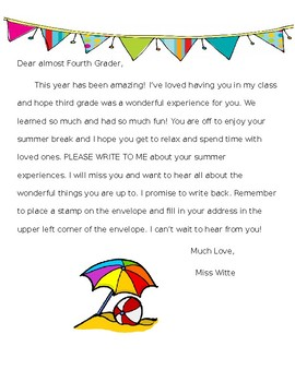 End of the Year Activities: Summer Writing