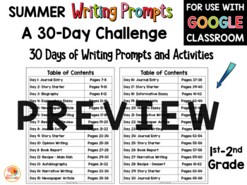 Summer Writing Activities: 30-Day Summer Writing Challenge BUNDLE
