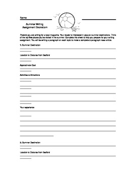 Summer Writing Assignment Handout