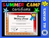Summer Writing Camp Certificate - Editable
