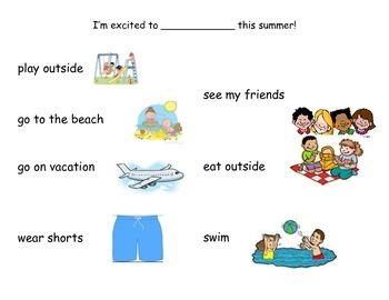 Summer Writing- Choice Board