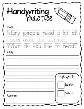 summer writing handwriting packet kindergarten first grade tpt. Black Bedroom Furniture Sets. Home Design Ideas