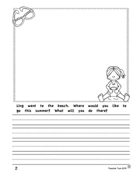 Writing Paper Kindergarten 1st 2nd for Summer | Summer Writing Journals