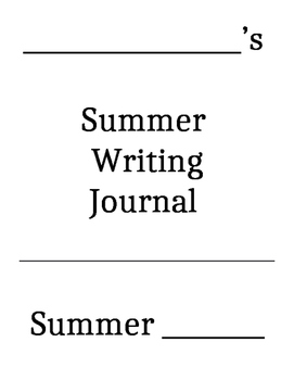 Summer Writing Journal Book Cover