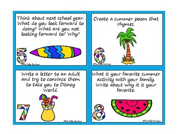 Summer Writing Journal Prompt Task Cards