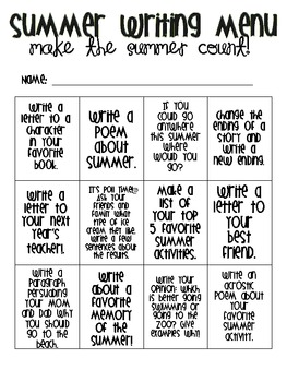Summer Writing Menu: Make the Summer Count!