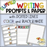 Summer Writing Prompts and Writing Paper - Dotted Lines