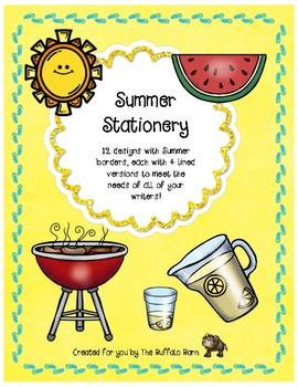 Summer Writing Paper- Lined Stationary with Borders