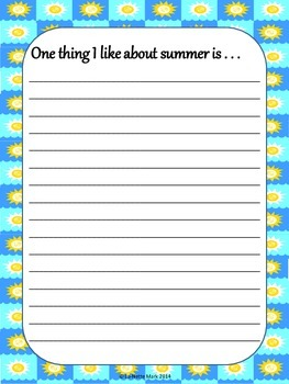 Summer Writing Paper With Prompts