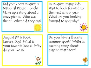 Summer Writing Prompt Task Cards School or Home June July August Fun!
