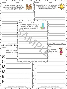 Summer Writing Prompts Worksheets