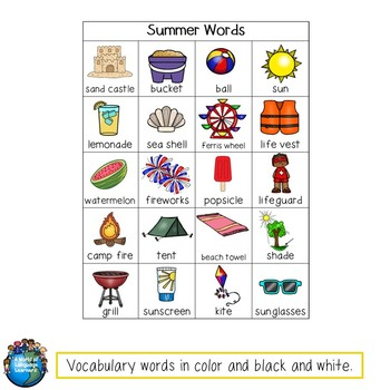 Summer Writing Prompts, Vocabulary, & Graphic Organizers
