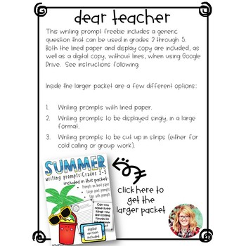 Summer Writing Prompts: Grades 2 - 5