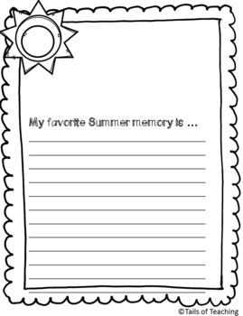 Summer Writing Prompts FREEBIE
