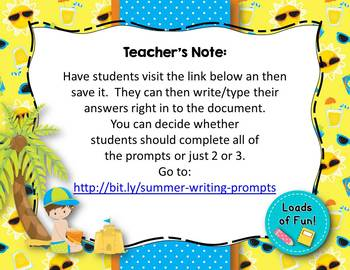 Summer Writing Prompts - GOOGLE DRIVE!