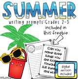 Summer Writing Prompts: Grades 2 - 5 // Digital Version Included