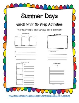 Summer Writing Prompts & Surveys: Narrative, Opinion, How-To Writing Options
