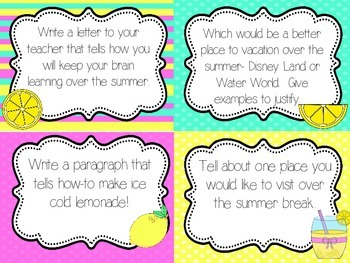 Summer Writing Prompts {Task Cards}