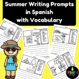 Summer Writing Prompts in Spanish with vocab (Escritura con vocabulario)