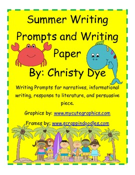 Summer Writing Prompts with Writing Paper