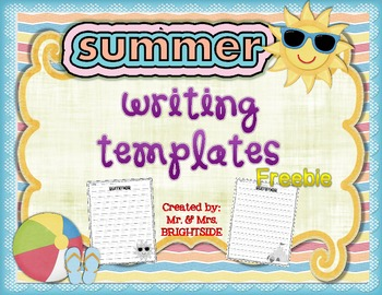 summer writing templates freebie by mr and mrs brightside