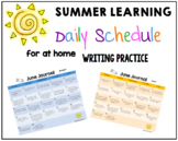 Summer Writing Work - Daily Calendar for June, July and August K-2