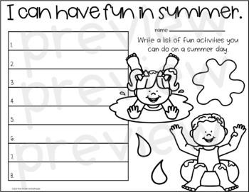 Summer Writing for First Grade