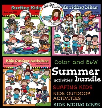 Summer Activities Clip Art Bundle Color And B W By Artifex Tpt