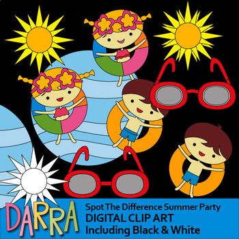 Summer activities clipart - Pool Party clip art - spot the difference