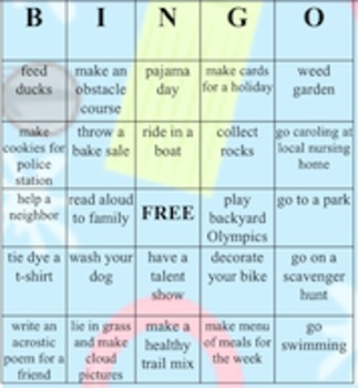 Summer activities for elementary grades- Bingo cards