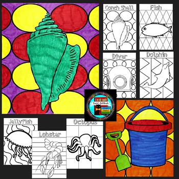 Summer and Ocean Themed Coloring Sheets Pop Art Inspired End of Year Activity