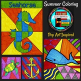 Summer and Ocean Themed Coloring Sheets Pop Art Inspired E