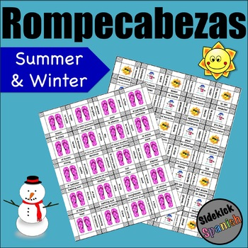 Summer and Winter Activities Vocabulary Puzzle