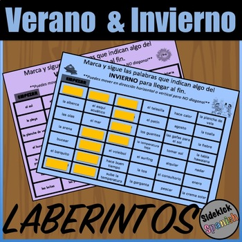 Summer and Winter Vocabulary Puzzles - Spanish